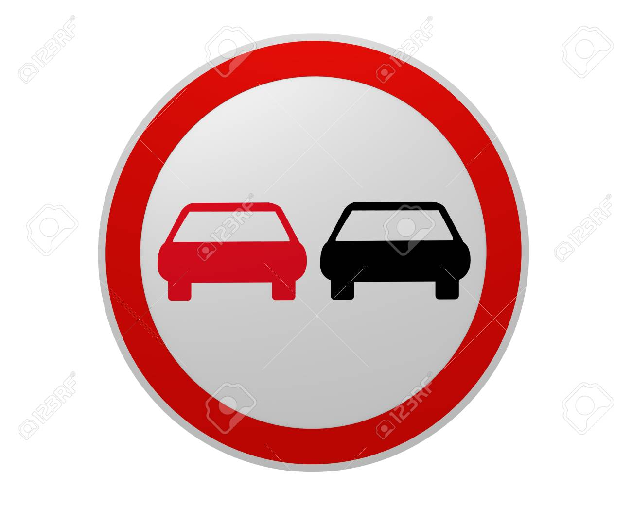 German Traffic Sign No Passing Front View 2d Rendering Stock