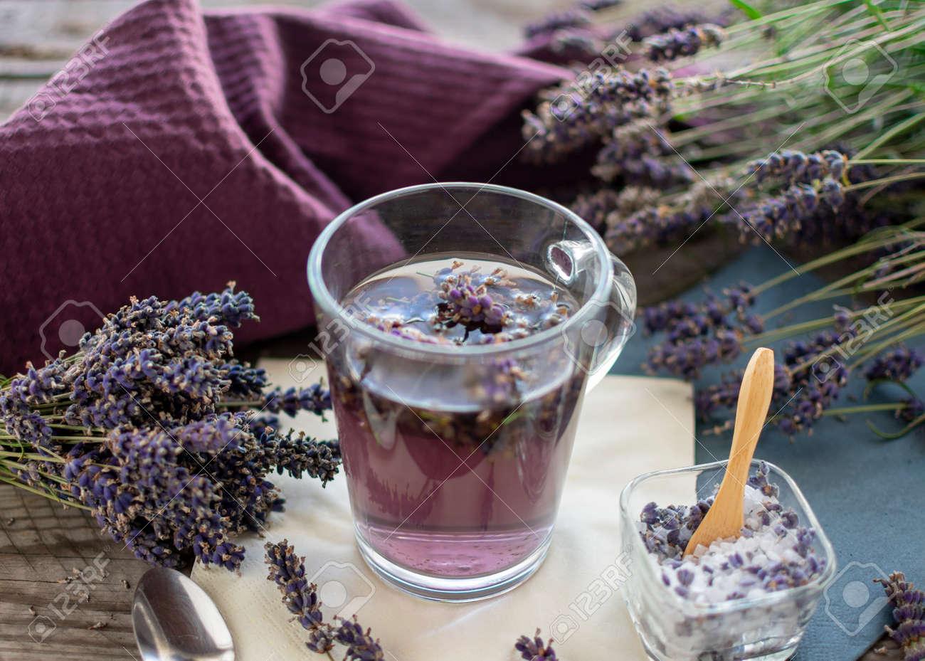 fresh lavender tea with lavender sugar. Lavender (Lavandula angustifolia), has a calming and antispasmodic effect. - 152468044