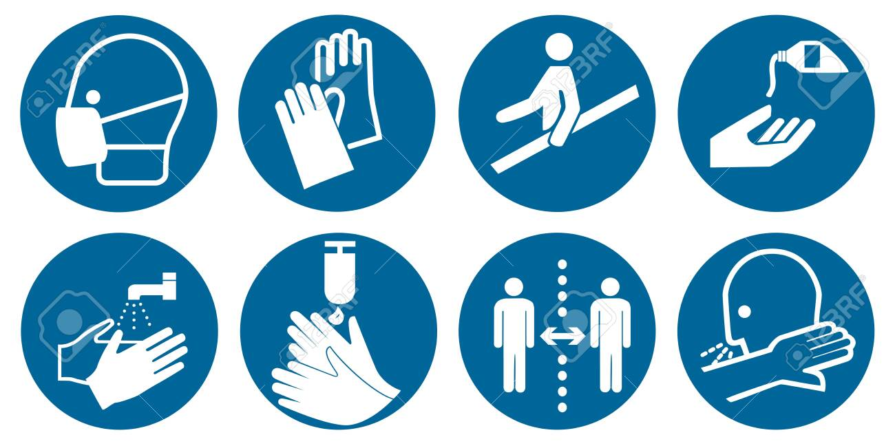 Collection of mandatory signs according to DIN EN ISO 7010, vector file - 156589046