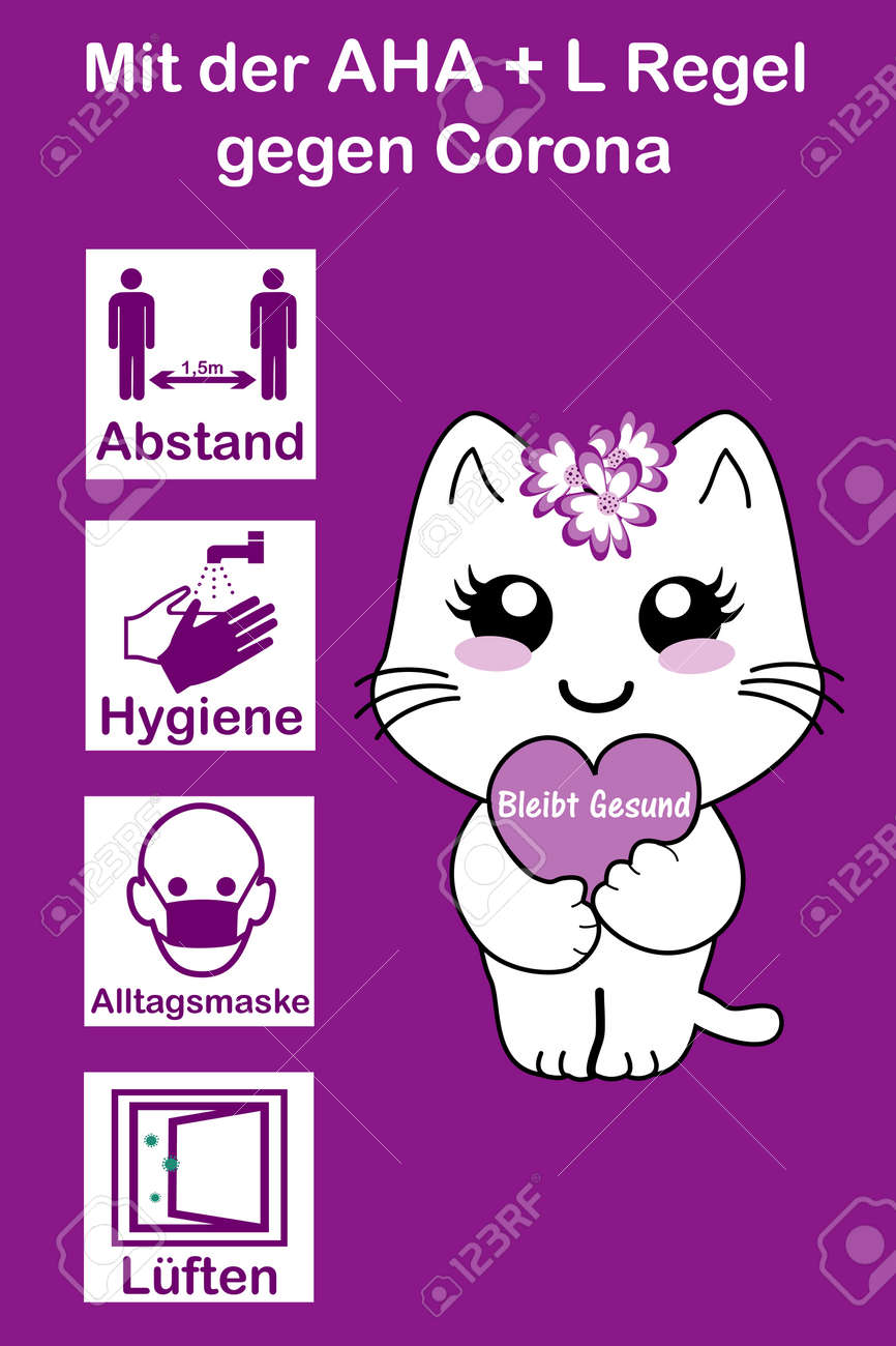 """Information sign for children with the AHA + L rule. German text: """"With the AHA + L rule (distance, hygiene, everyday mask, airing) against Corona"""" and on the heart in German """"Stay healthy"""". Vector file - 156589047"""