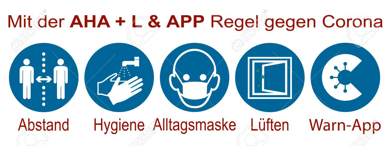 Sign with the AHA + L & Warning APP rule with German text - 157184650