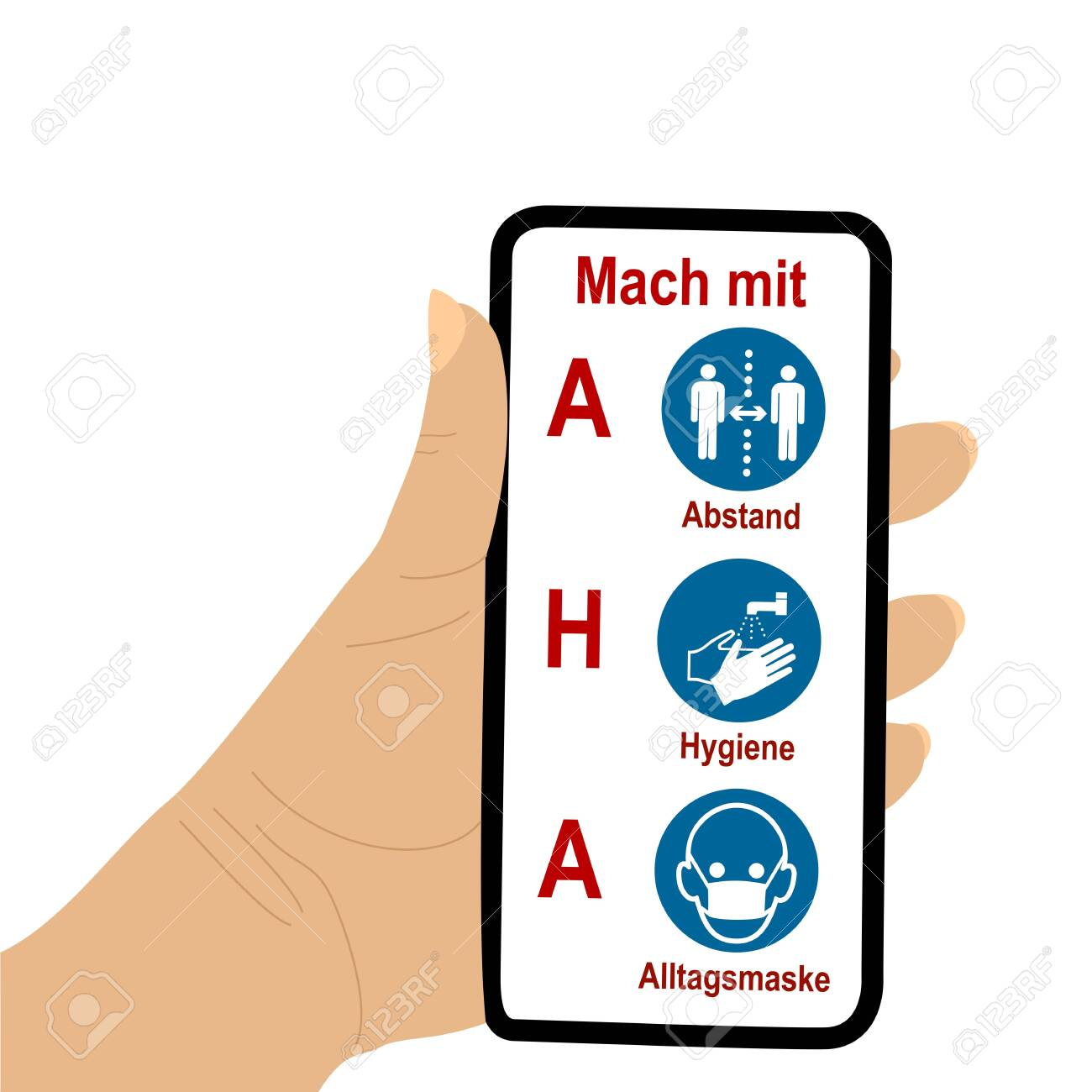 Hand holds cell phone with AHA formula. Text in German: Join in; AHA, distance, hygiene, everyday mask. Vector file - 157322918