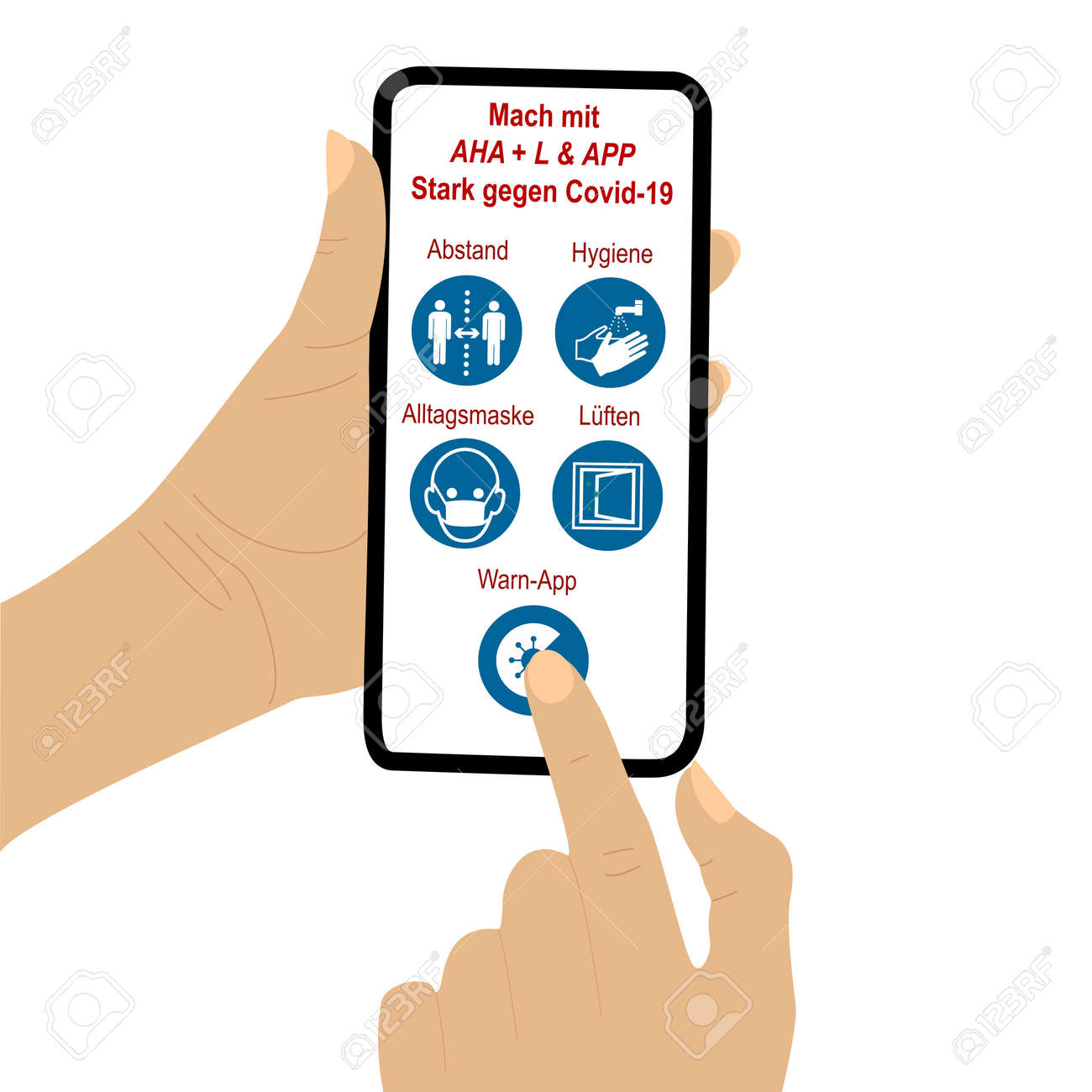 Hand holds cellphone with AHA L & APP rule. The finger of a second hand presses a symbol. Text in German: Join in, Strong against Covid-19, distance, hygiene, everyday mask, ventilation, warning app.Vector file - 157900187