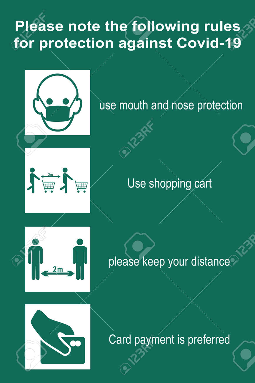 Shopping rules to protect against Covid-19. vector file - 157900189