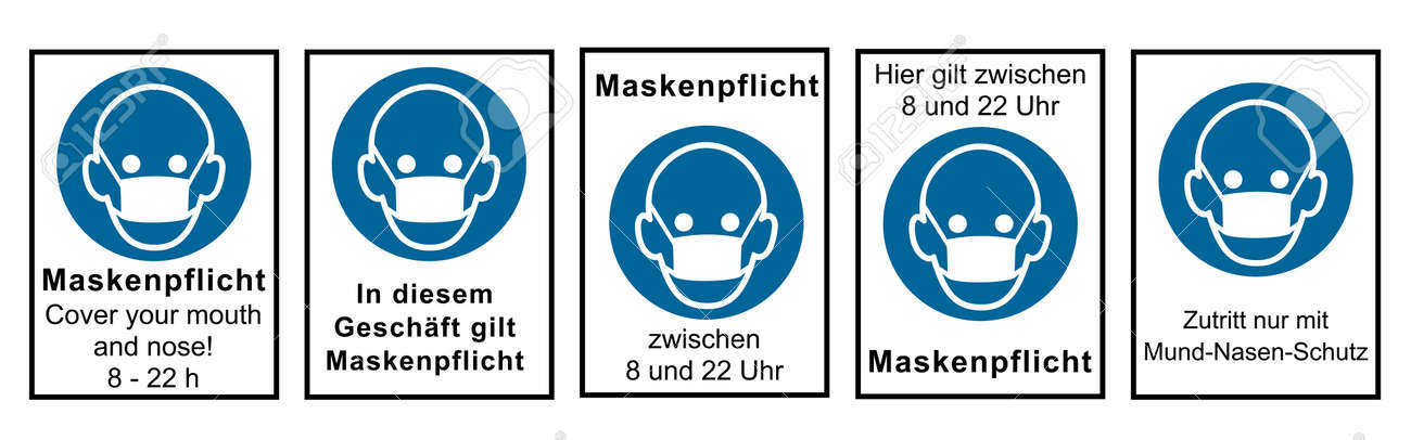 Collection of signs relating to the mask requirement. Vector file - 157900191