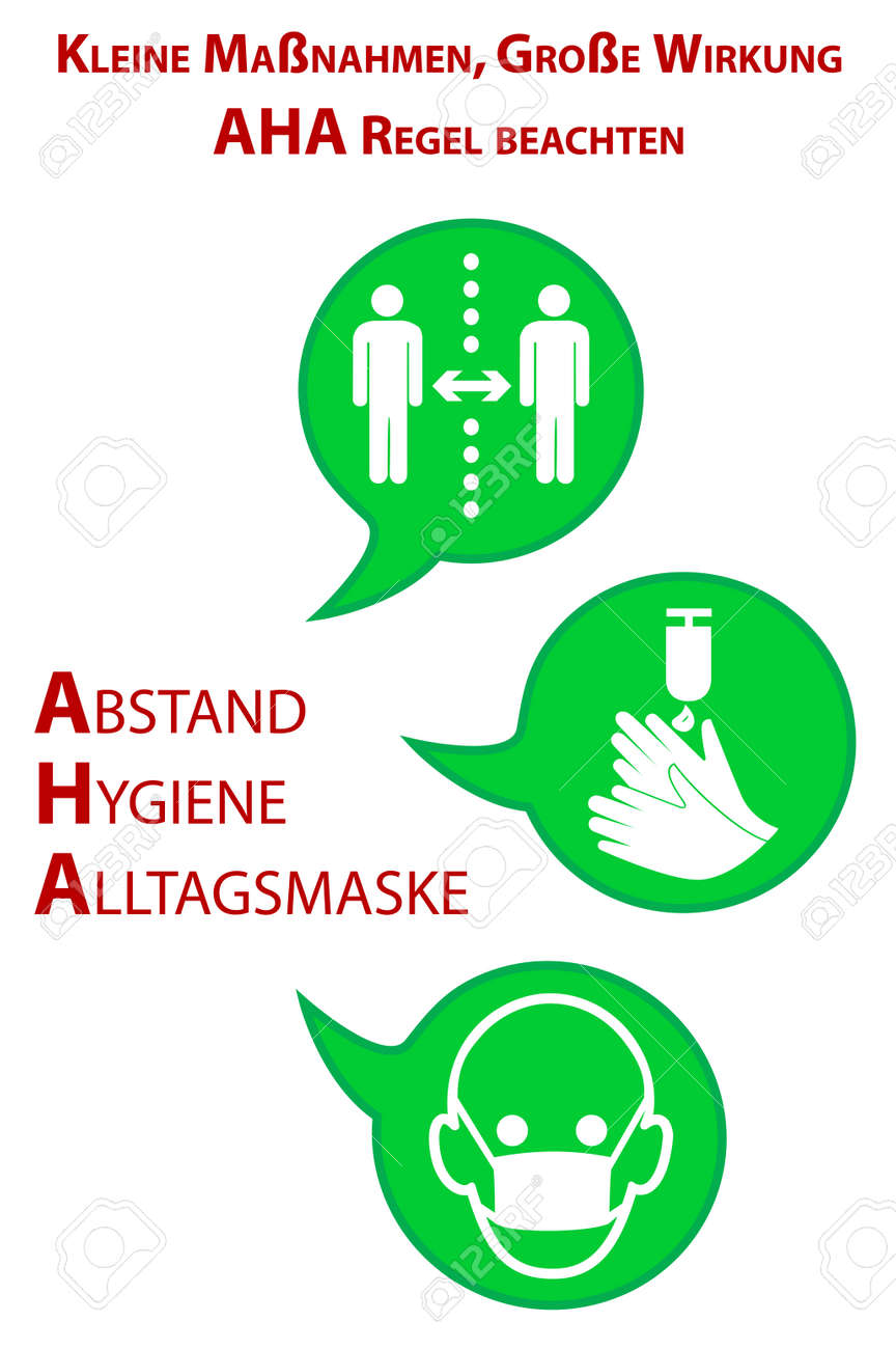 """Information signs with the AHA rule. German text: """"Small measures, big effect. Observe AHA rule (distance, hygiene, everyday mask)"""" Vector - 164499988"""