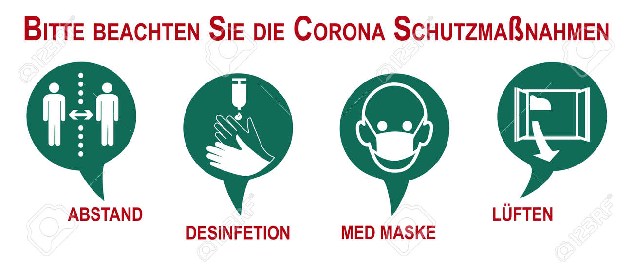Banner with security measures against Corona. Text in German (safety measures to protect against Covid-19 and distance, disinfection, medical mask, ventilation, warning app, vaccination). Vector file - 165579009