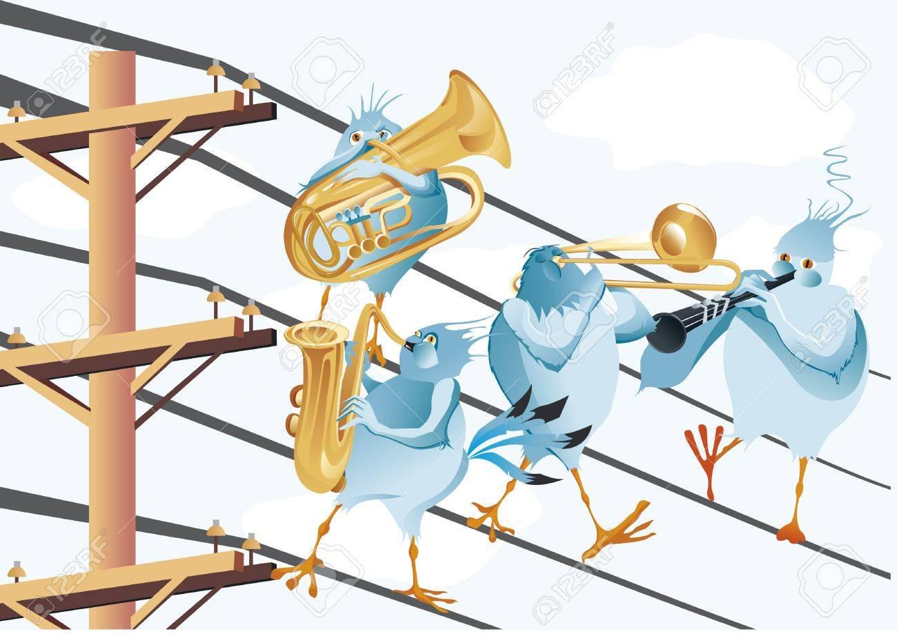 Band Des Musikalischen Vogel In Elektrischen Draht Lizenzfrei ...