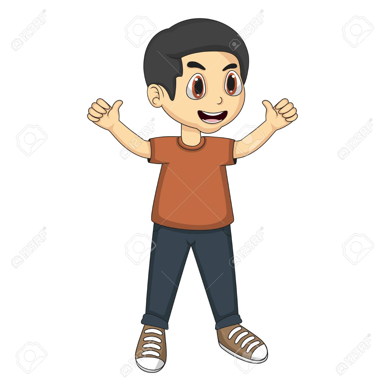 little boy cartoon with two tumbs up royalty free cliparts vectors