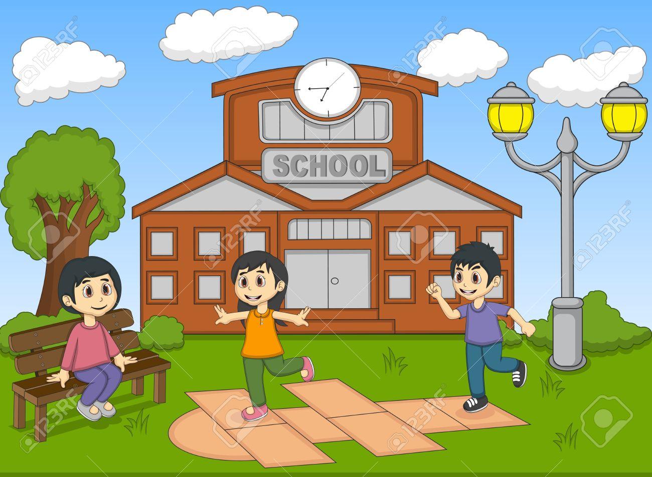 Los Niños Jugando Rayuela En La Ilustración Vectorial De Dibujos Animados De La Escuela Ilustraciones Vectoriales Clip Art Vectorizado Libre De Derechos Image 51438039