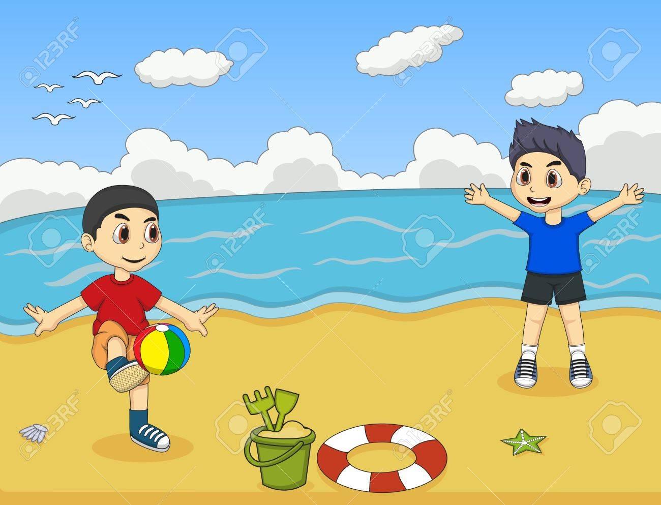 Niño Juega La Bola En La Ilustración Vectorial De Dibujos Animados