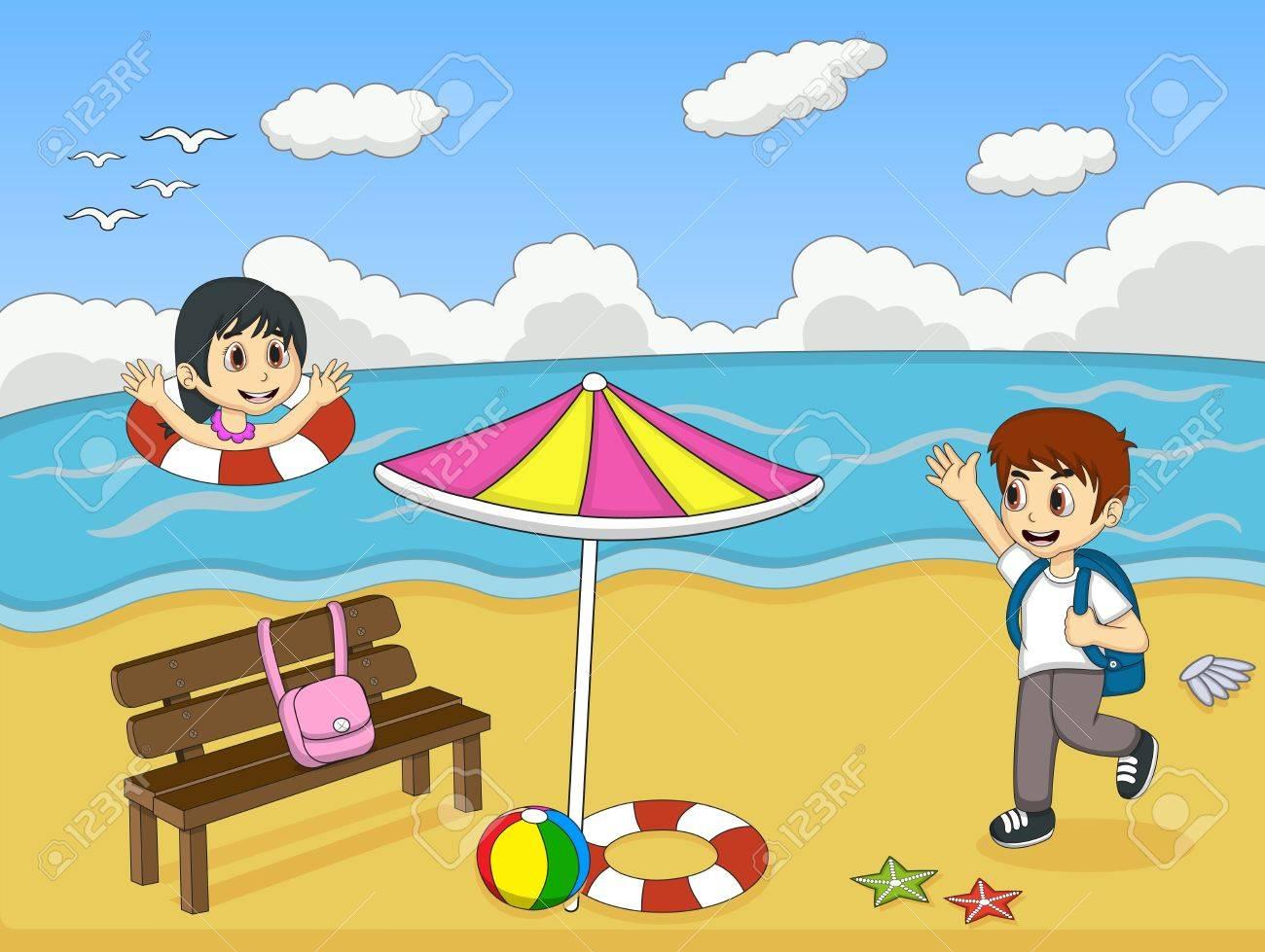 Niños Jugando En La Playa De Ilustración Vectorial De Dibujos