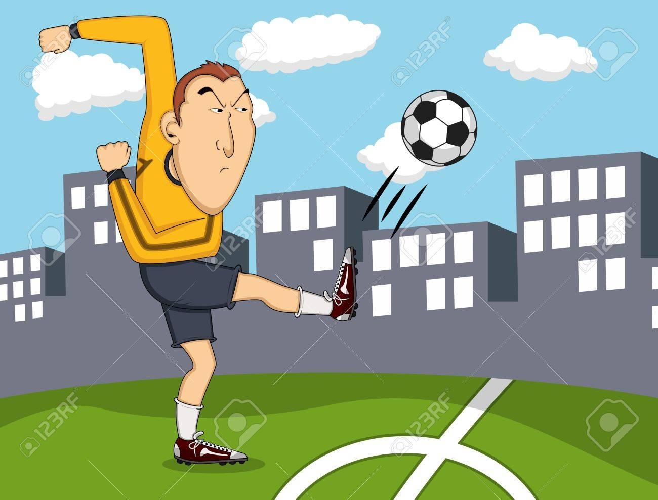 Vettoriale l uomo a giocare a calcio con la città cartone