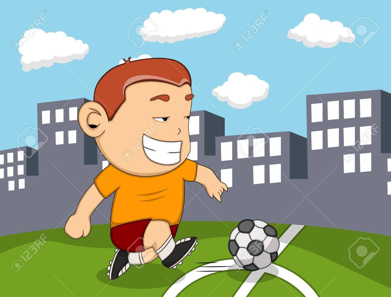 Vettoriale un ragazzo che gioca a calcio con sfondo di città dei