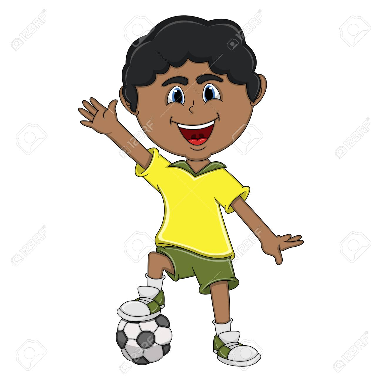 Un Nino Jugando Futbol Y Agitando Su Mano De Dibujos Animados