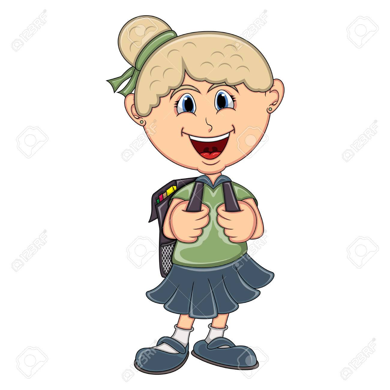 Dessin Fille petite fille avec dessin animé sac à dos clip art libres de droits