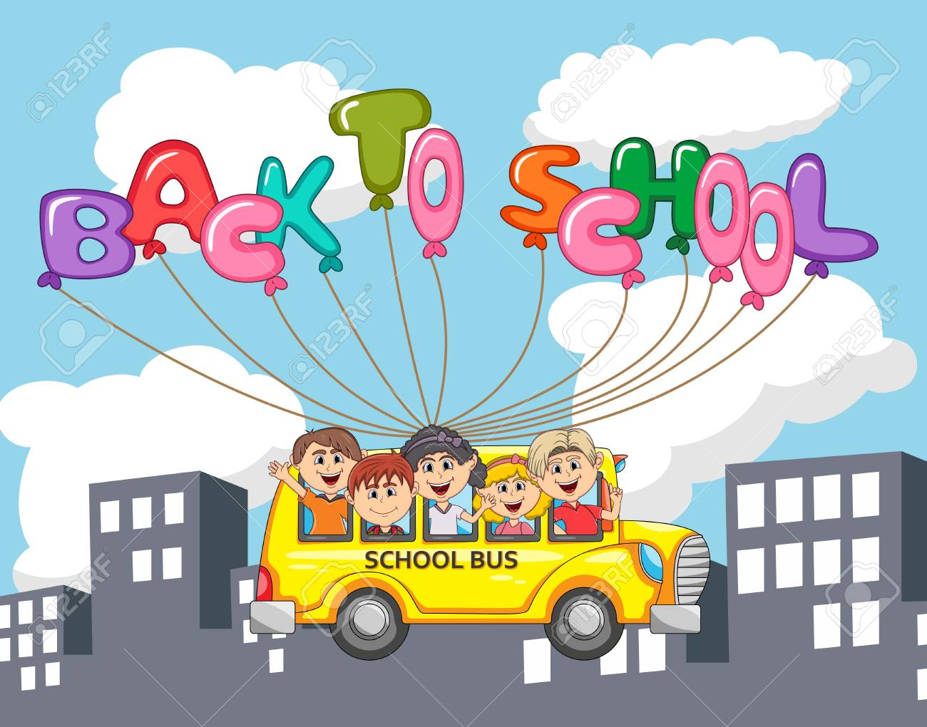 Autobús Y Niños Volando Con Globo Letra A Través De Dibujos Animados ...