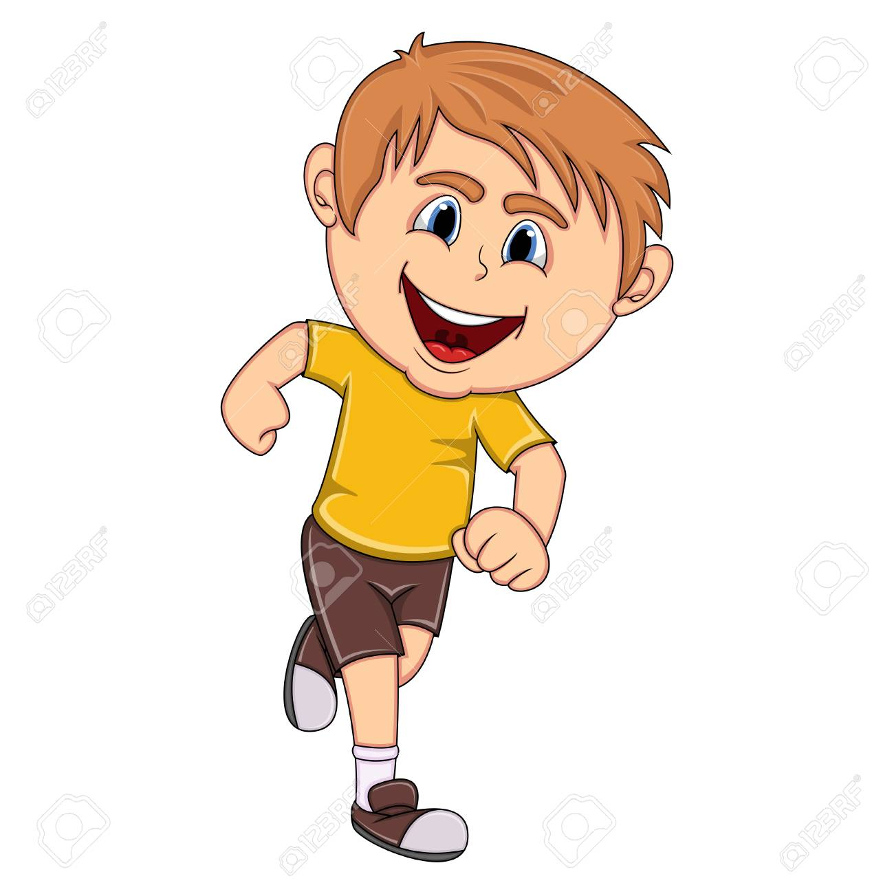 a boy running cartoon royalty free cliparts vectors and stock