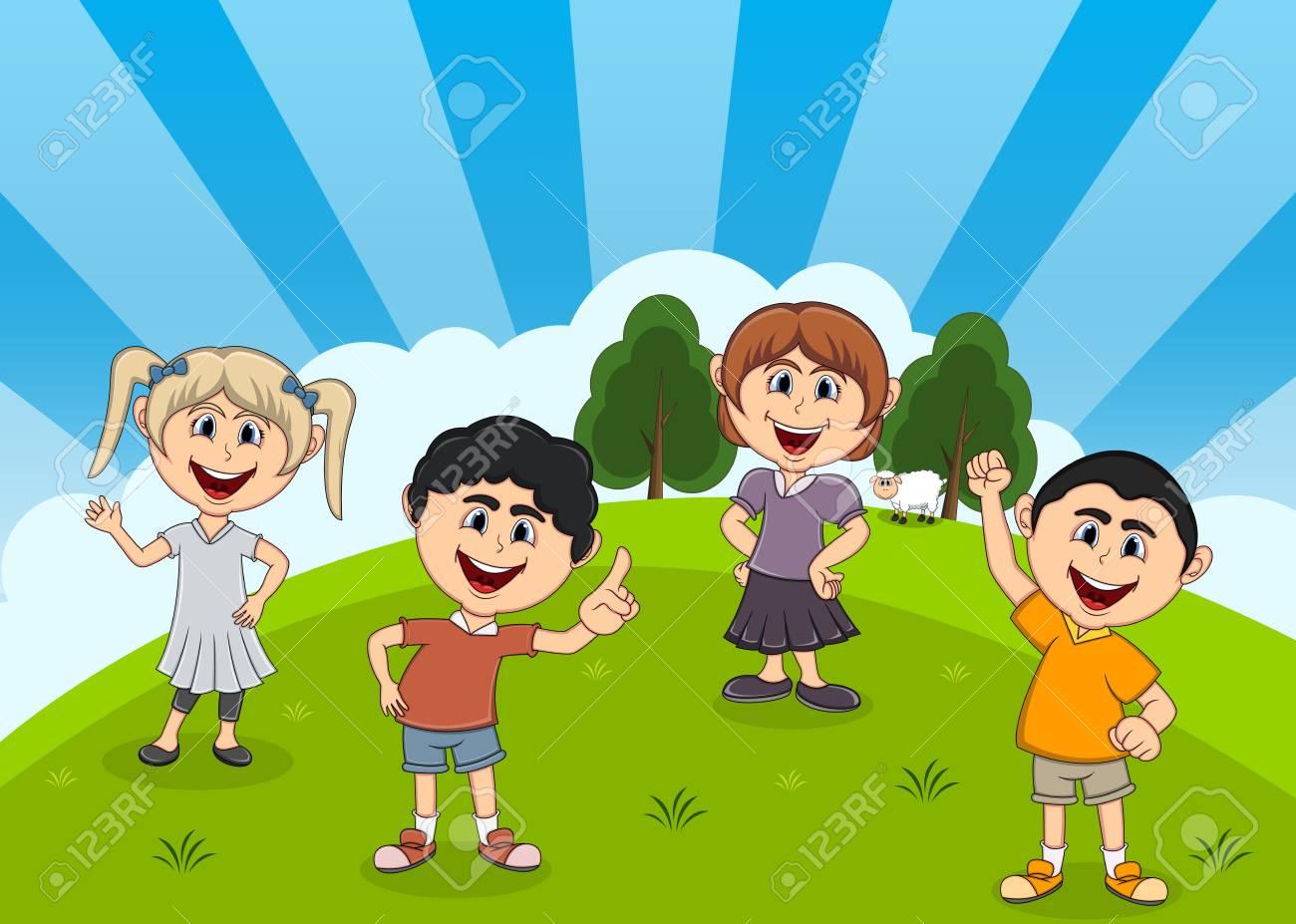 Ninos Jugando En El Parque De Dibujos Animados Ilustraciones