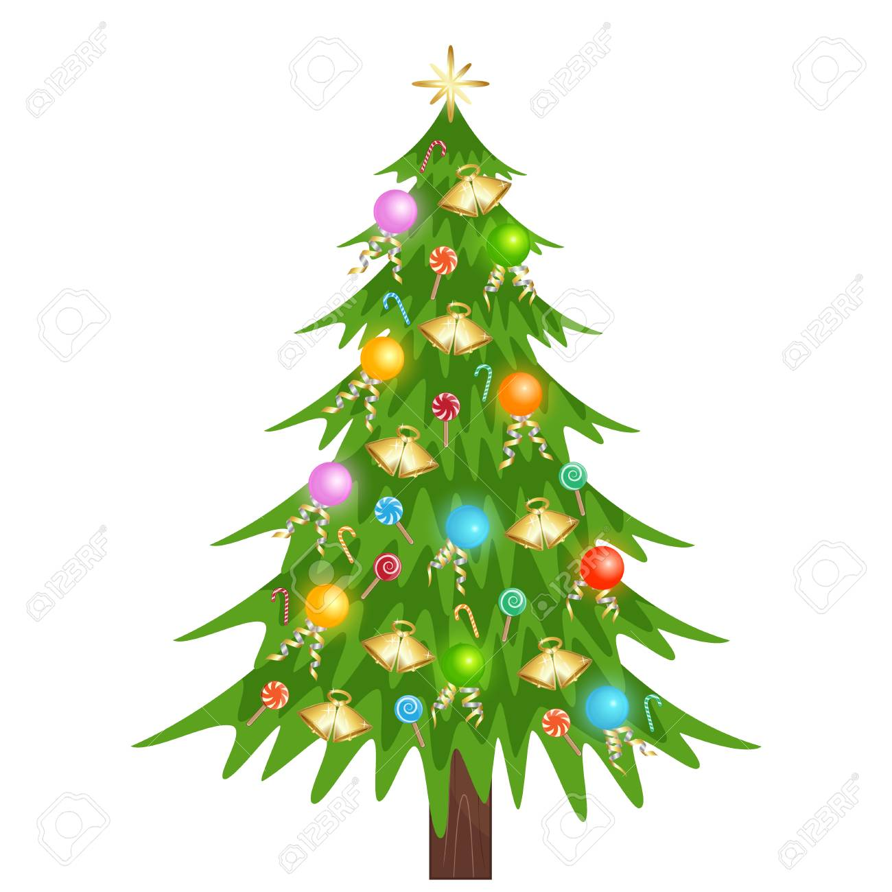 Nice Christmas Tree With Star Lamp And Candy Royalty Free Cliparts