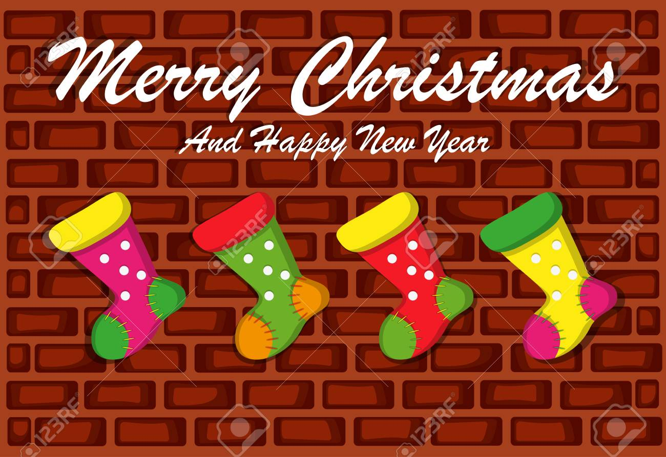 8fc167f68a30 Merry Christmas And Happy New Year With Brick Wall Background And Socks  Stock Vector - 91934368