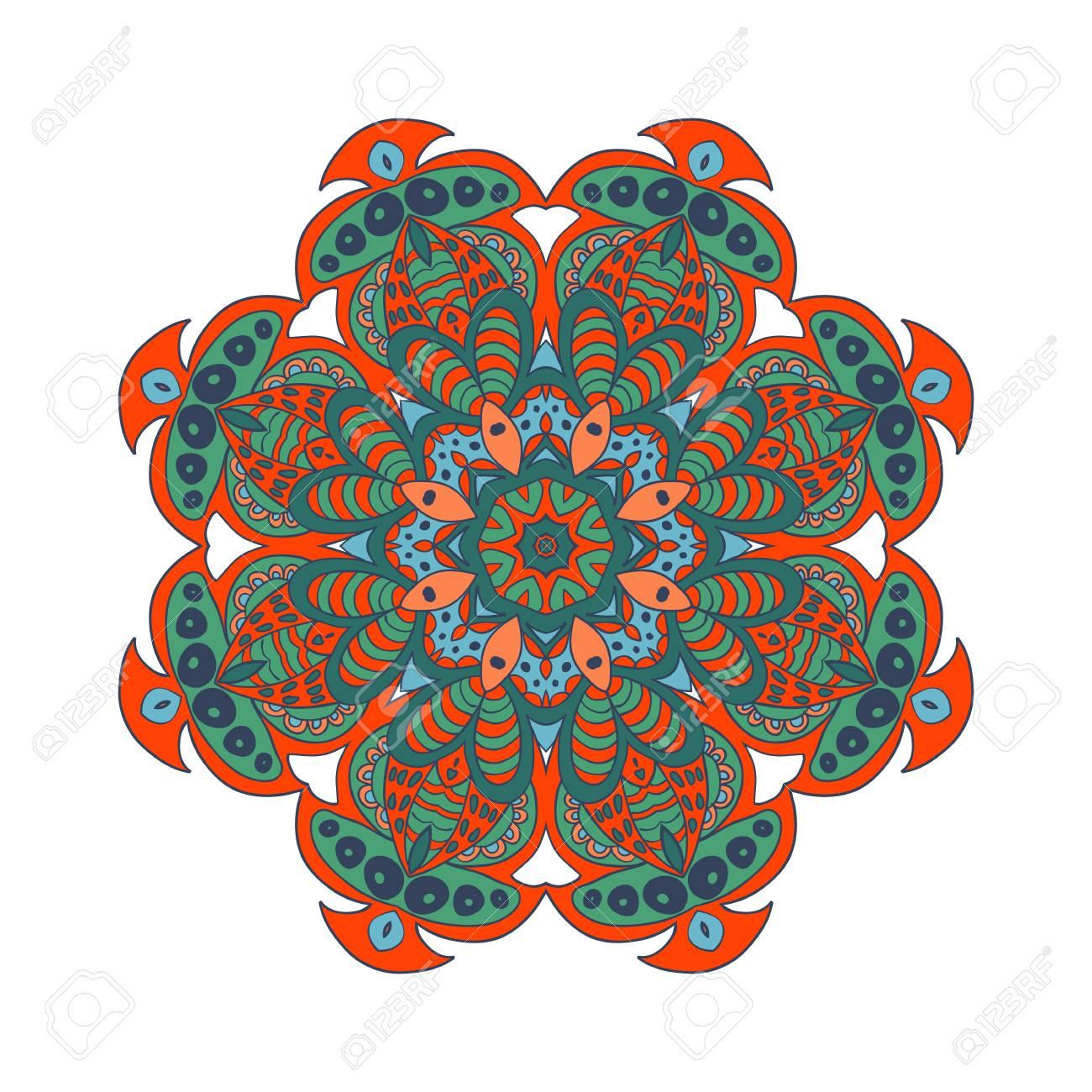 Mandala Kritzeleien. Bunte Blumen Runden Verzierung. Ethnische Solar ...