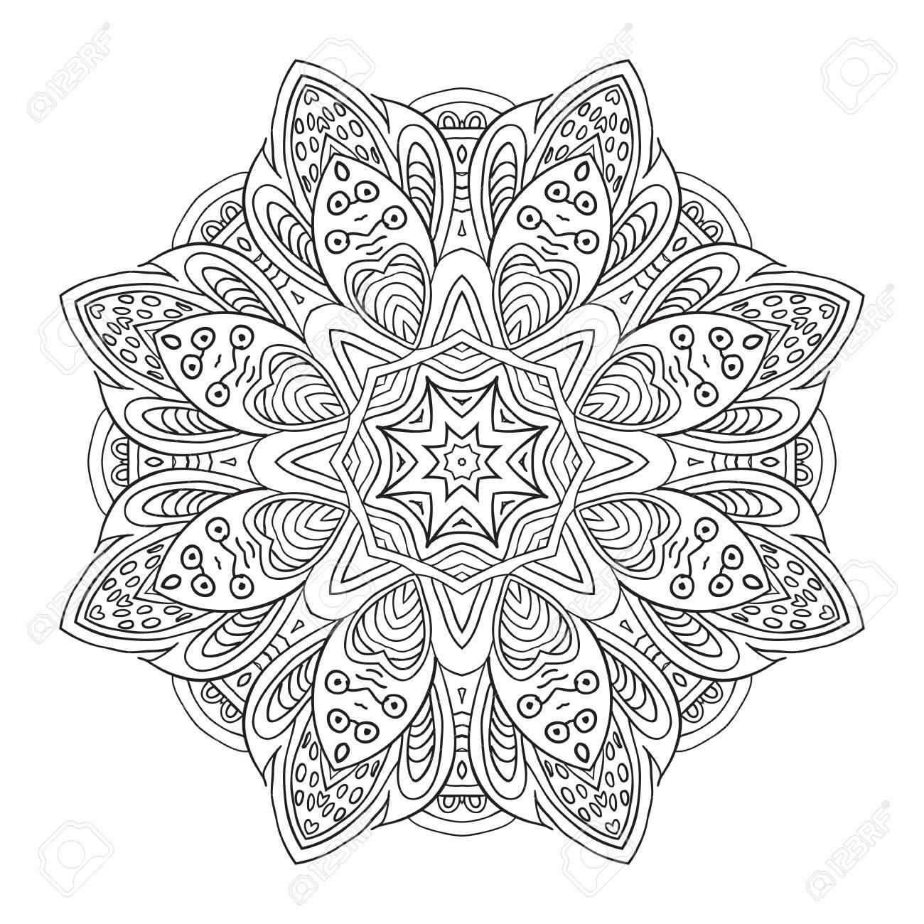 Mandala-Muster. Doodle Zeichnung. Runde Verzierung Färbung ...