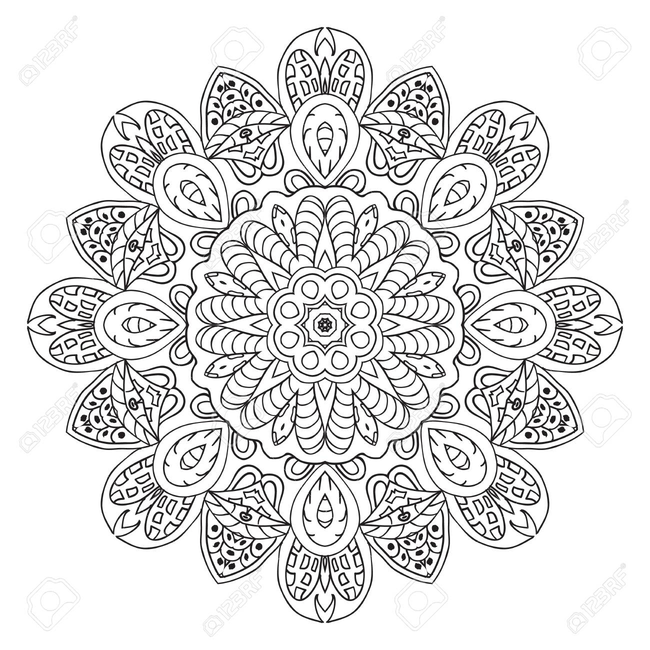 Mandala-Doodle-Zeichnung. Runde Blumenverzierung. Ethnische ...