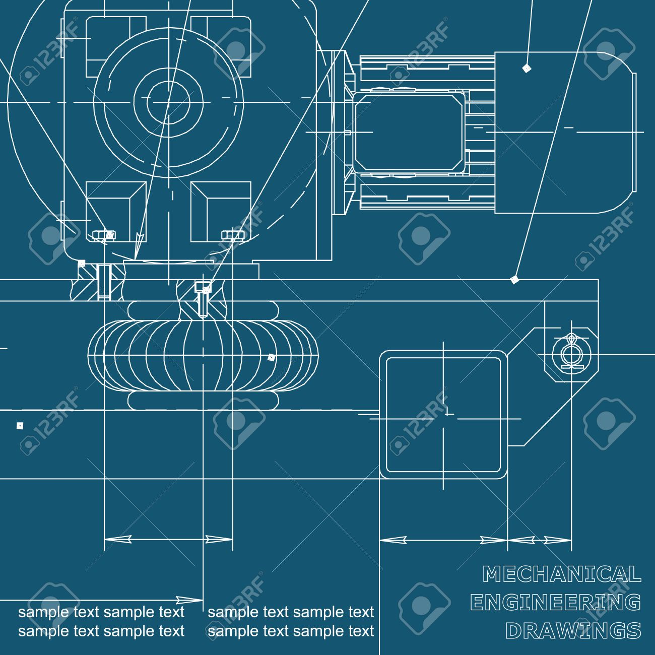 Mechanical engineering drawings on a blue background blueprints mechanical engineering drawings on a blue background blueprints vector cover background for malvernweather Gallery
