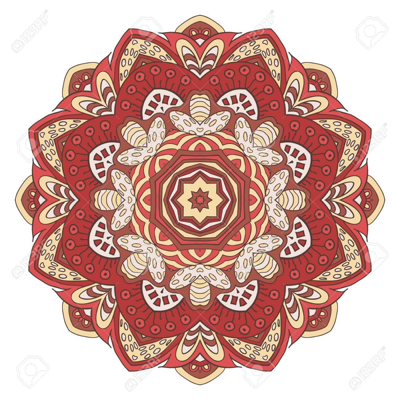 Fleur De Mandala Dessin De Doodle Ornement Rond Couleurs Crème Et