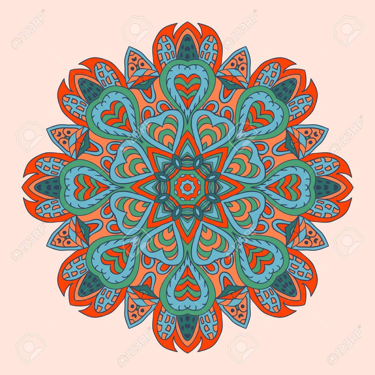 Mandala Doodle Dibujo Colorido Adorno Redondo Motivos étnicos