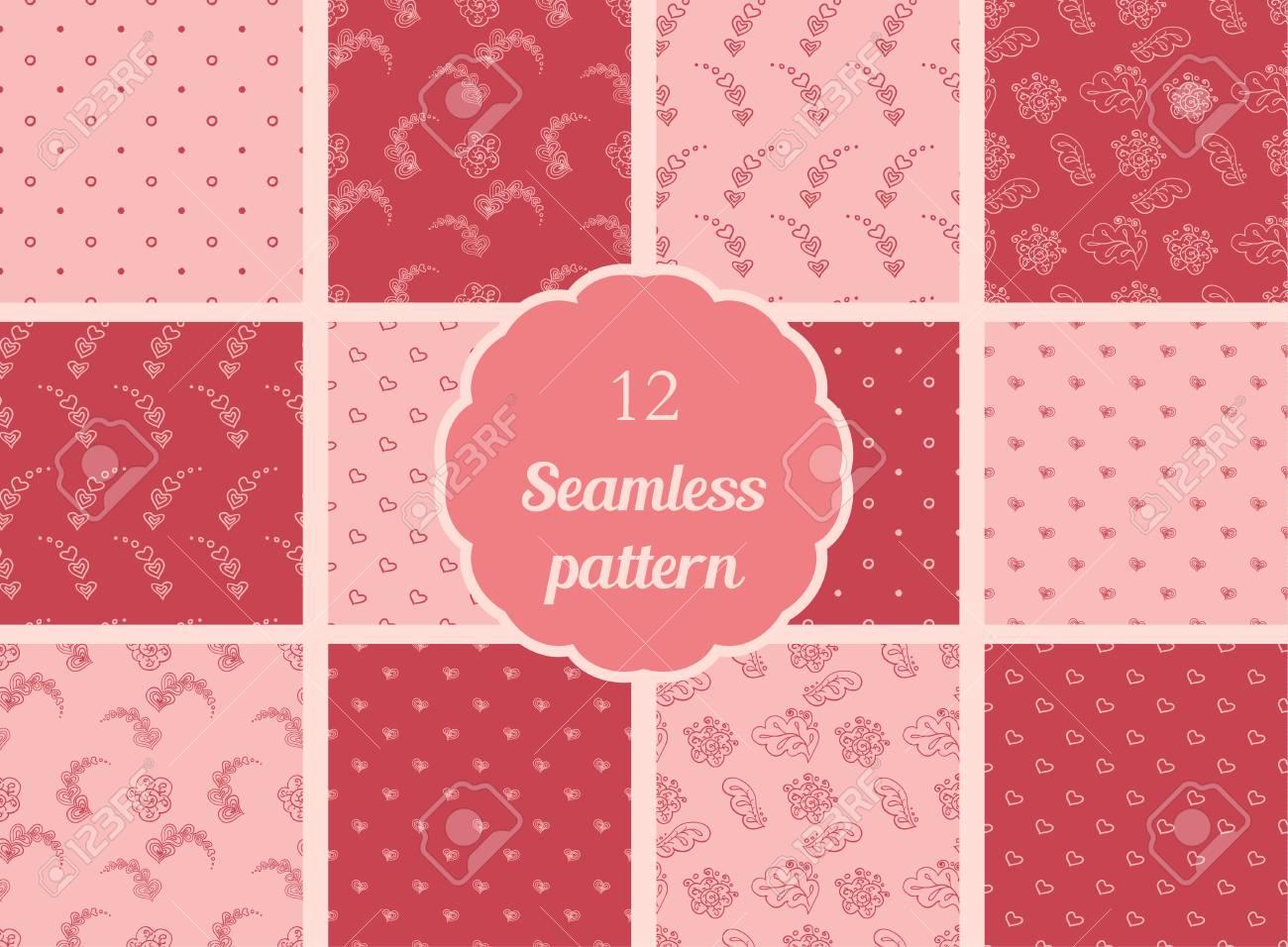 Conjunto de patrones sin fisuras en tonos rojos y rojos suaves. Las pautas  de los textiles cdd221f37a9c