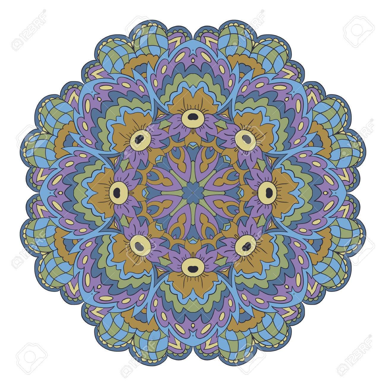 Mandala. Zentangl Runde Verzierung. Entspannen Sie Sich, Meditation ...