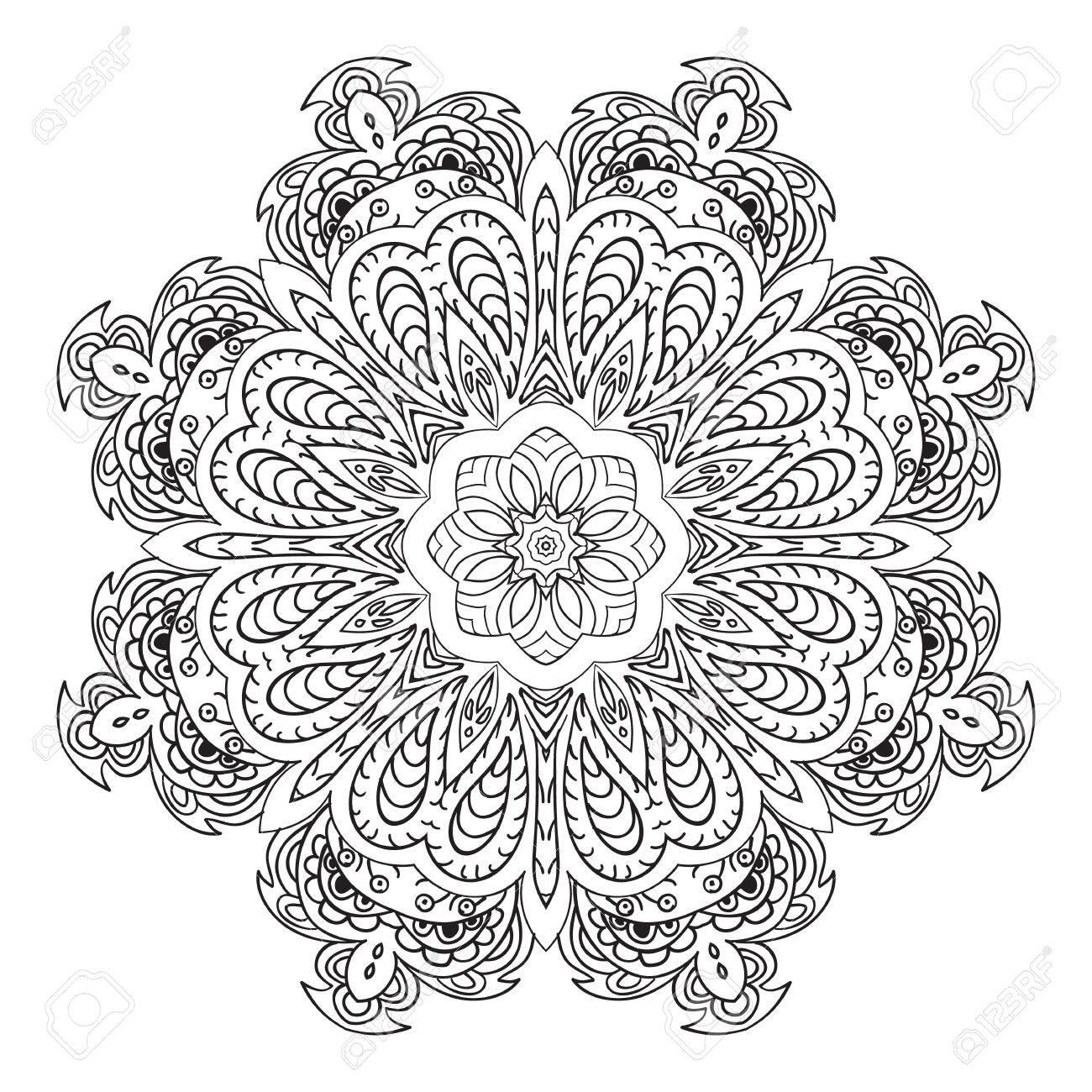 Mandala Doodle Dibujo Ornamento Floral Redondo Motivos étnicos