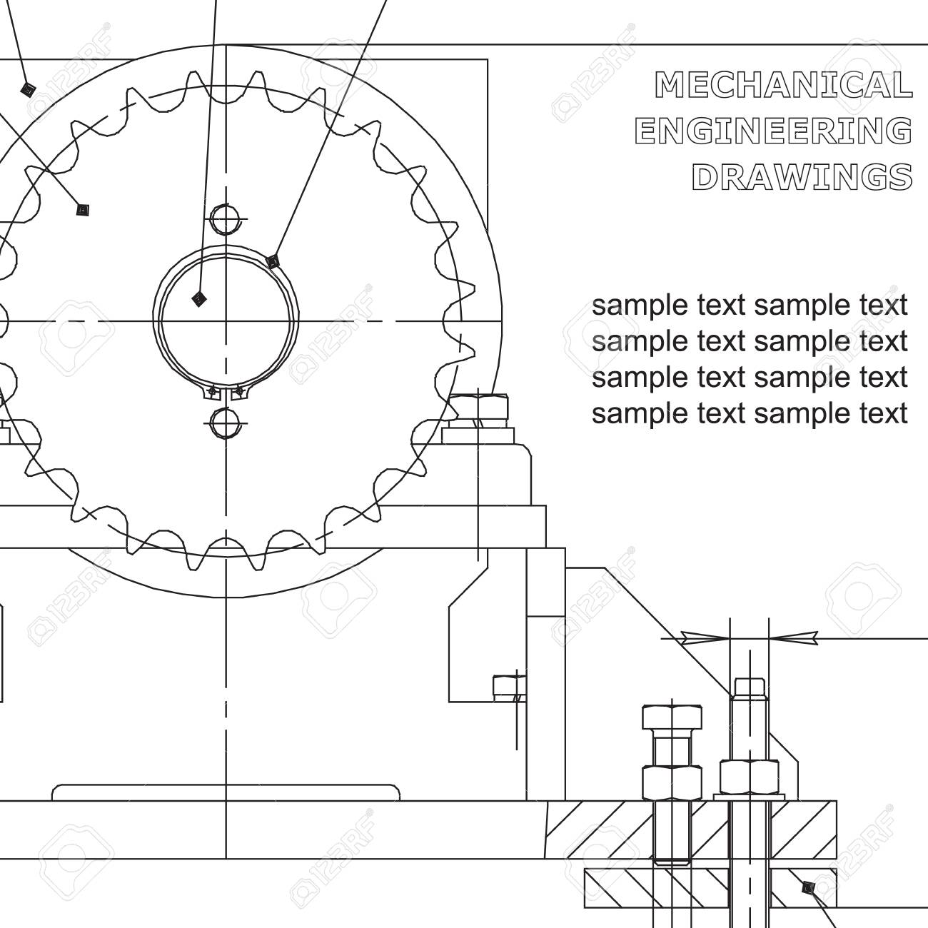 Mechanical Engineering Drawings On White Background. Vector ...