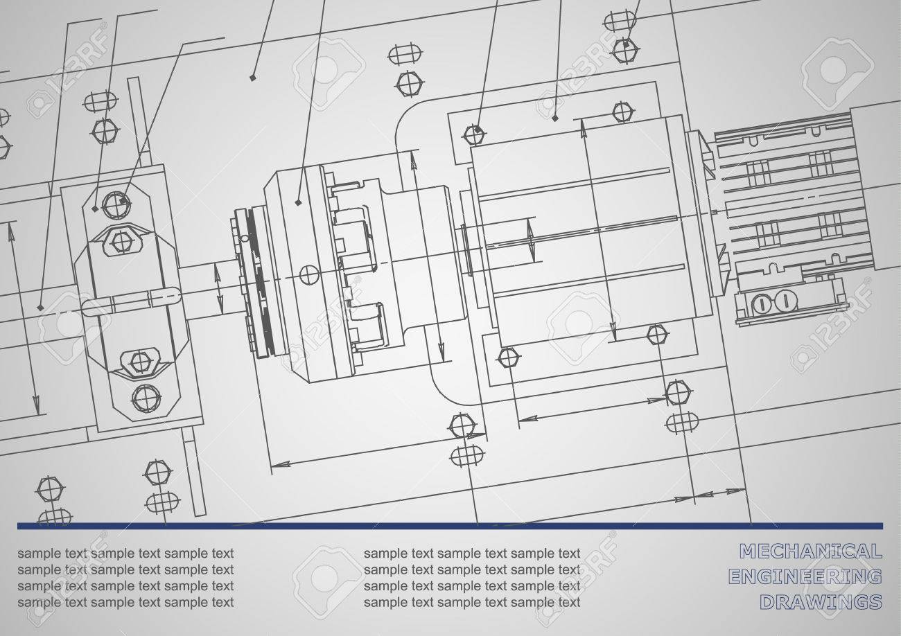 Mechanical Engineering Drawings On A Gray Background. Vector ...