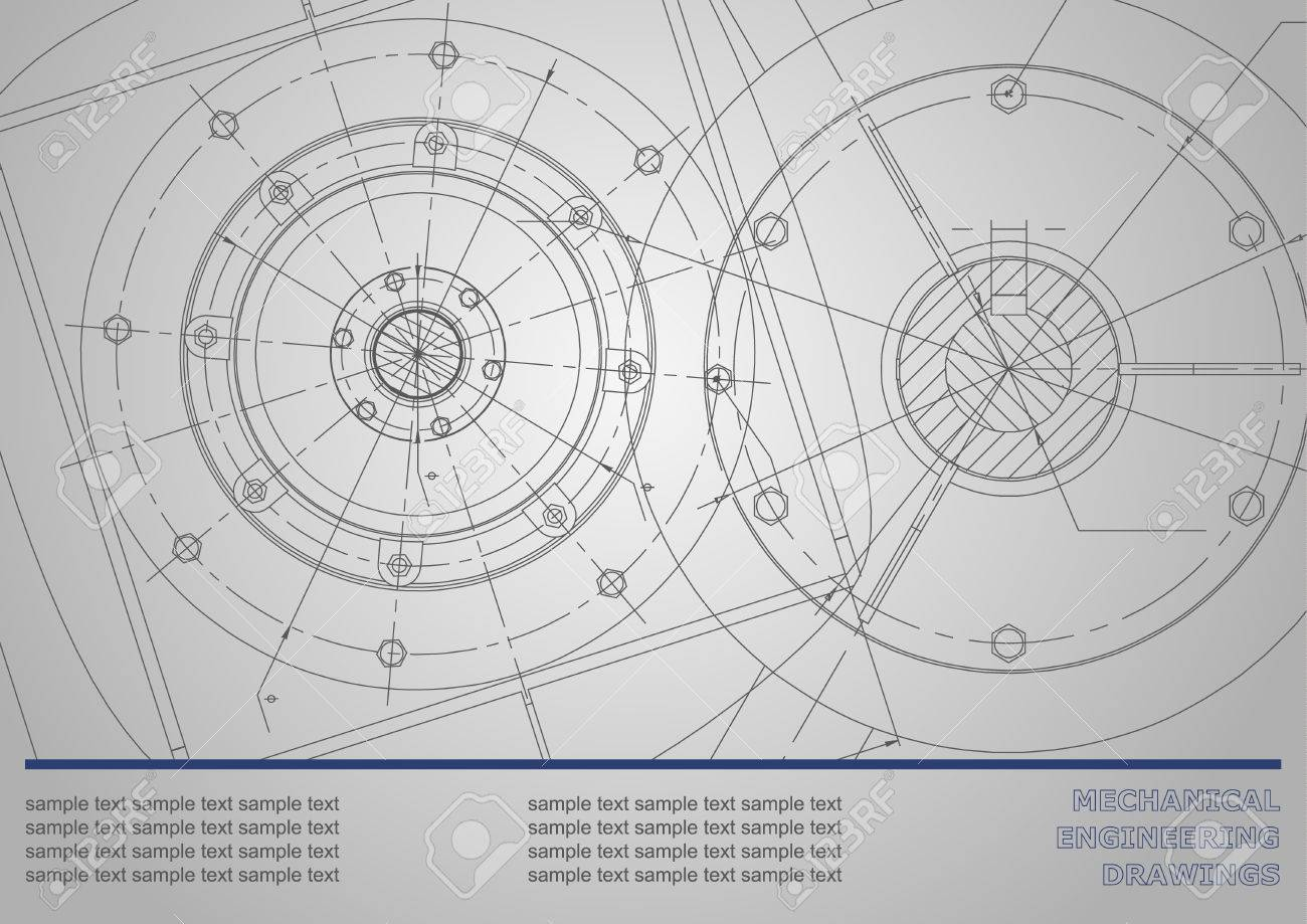 Vector Mechanical Engineering Drawings On A Dark Gray Background ...