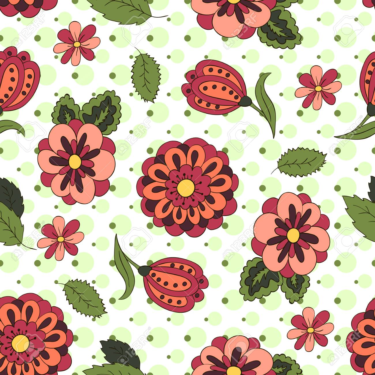 Seamless pattern with spring flowers cover background red seamless pattern with spring flowers cover background red and green colors green mightylinksfo