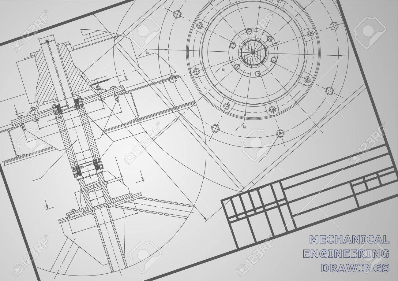 Mechanical Engineering Drawings. Vector Background. Frame. Corporate ...