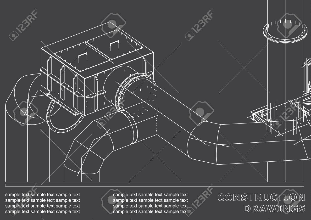 Drawings of steel structures pipes 3d blueprint of steel drawings of steel structures pipes 3d blueprint of steel structures cover background malvernweather Gallery