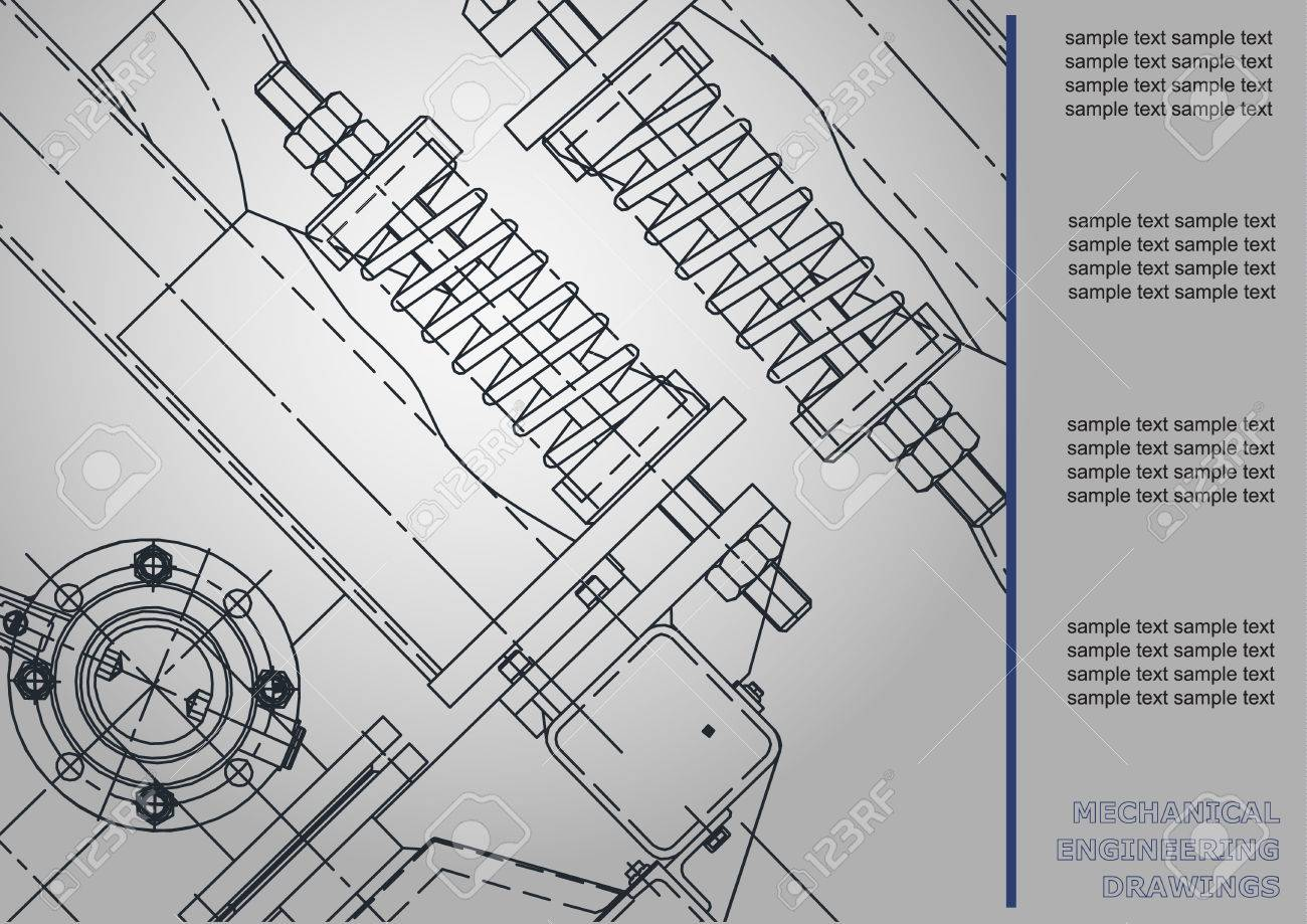 Mechanical Engineering Drawings. Cover, Label, Background For ...