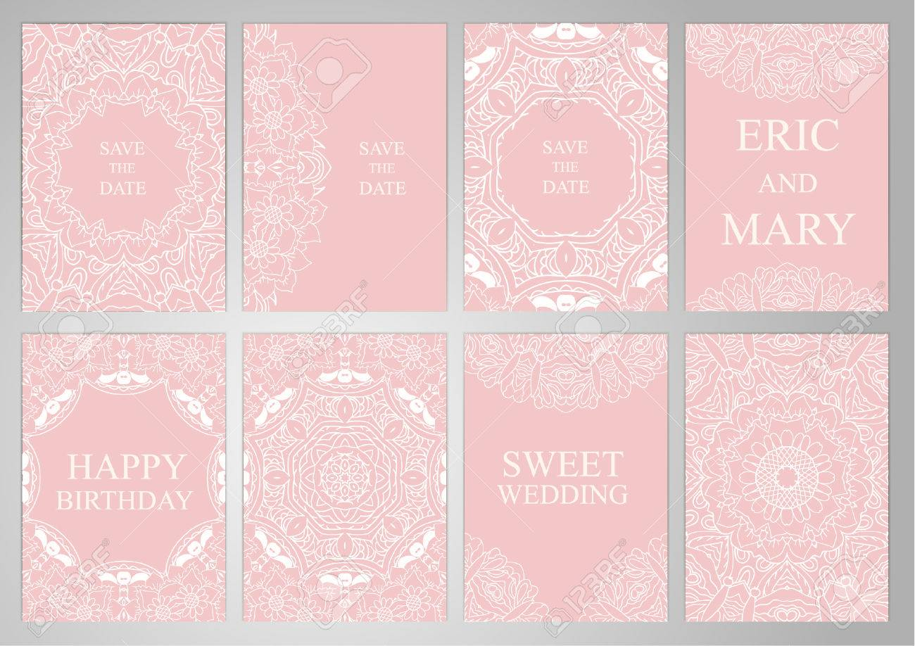 Wedding Set Postcards Backgrounds Invitations In Oriental Style