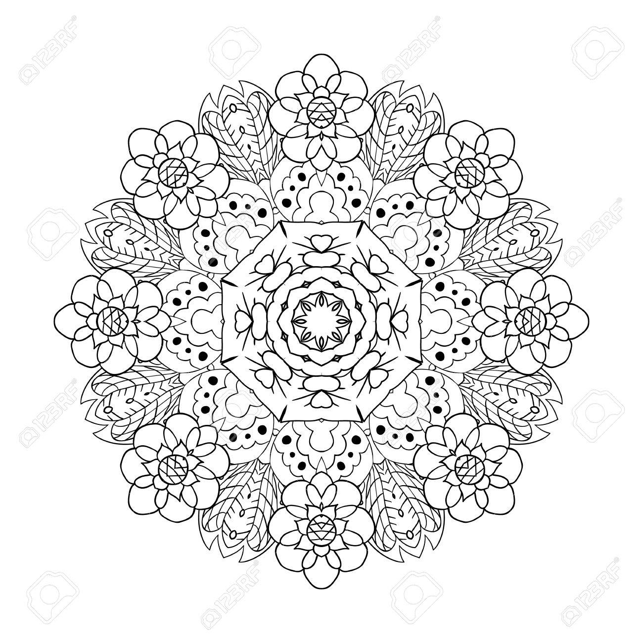 Oriental pattern. Traditional round ornament. Mandala coloring