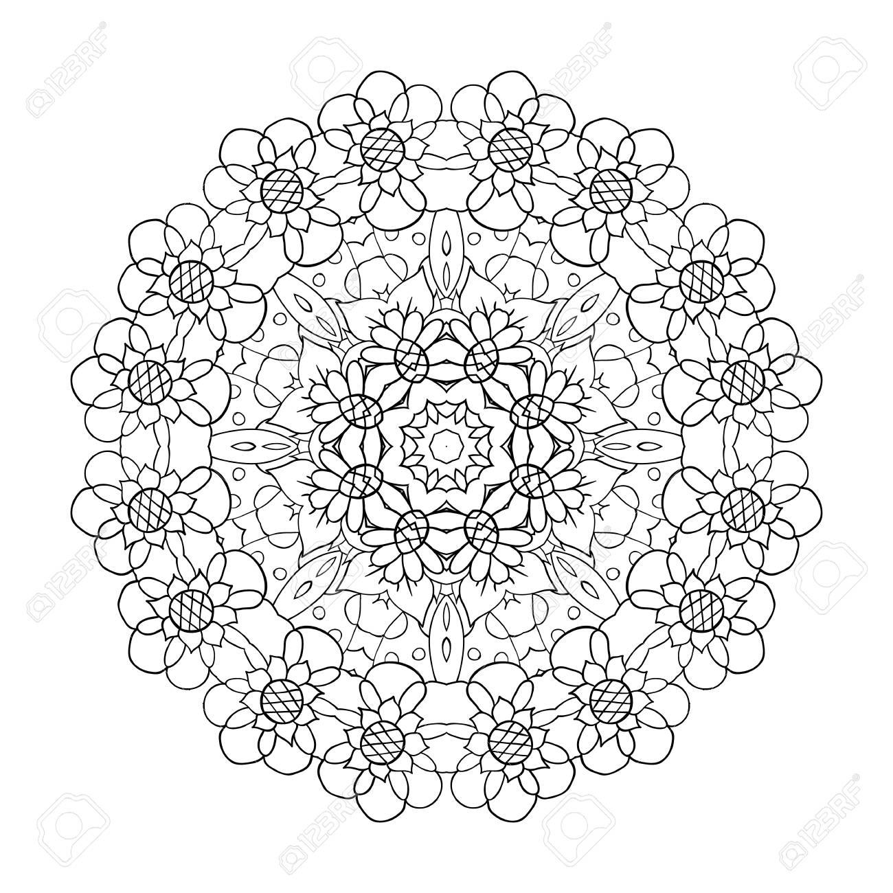 Oriental pattern. Traditional round ornament. Mandala. Flowers