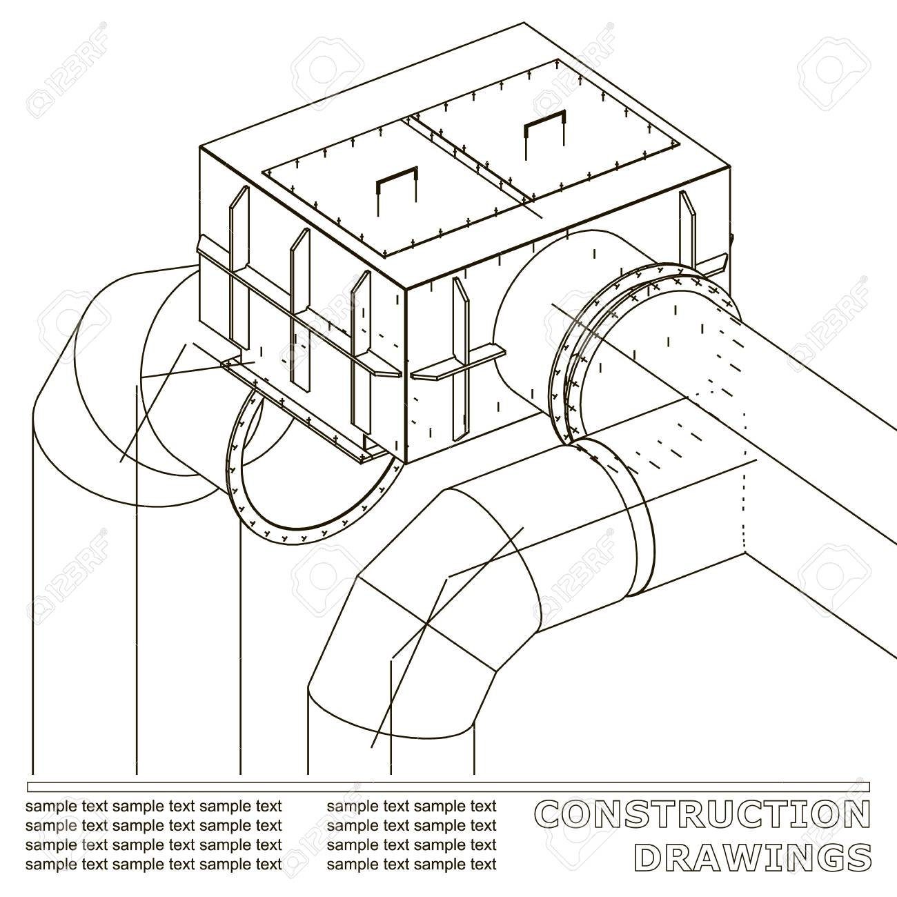 Drawings of steel structures pipes and pipe 3d blueprint of drawings of steel structures pipes and pipe 3d blueprint of steel structures white malvernweather Images