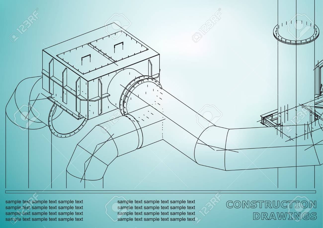 Drawings of steel structures pipes 3d blueprint of steel drawings of steel structures pipes 3d blueprint of steel structures cover background malvernweather Choice Image