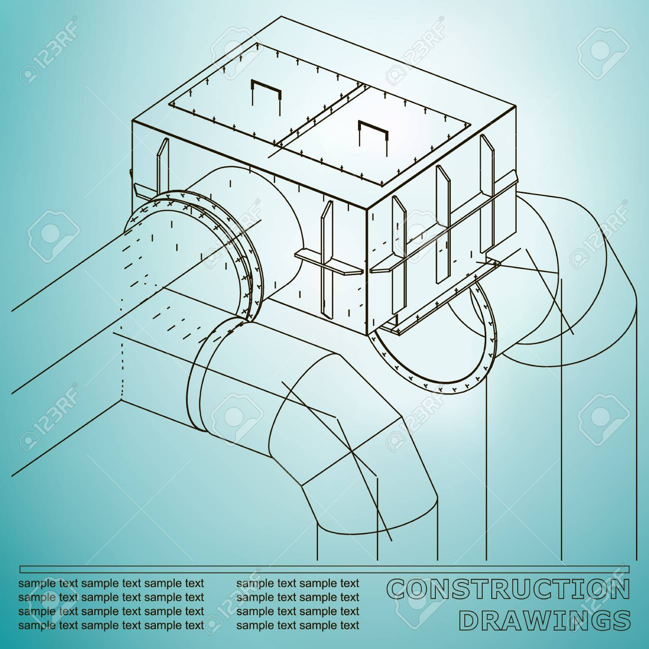 Drawings Of Structures. Pipes And Pipe. 3d Blueprint Of Steel ...