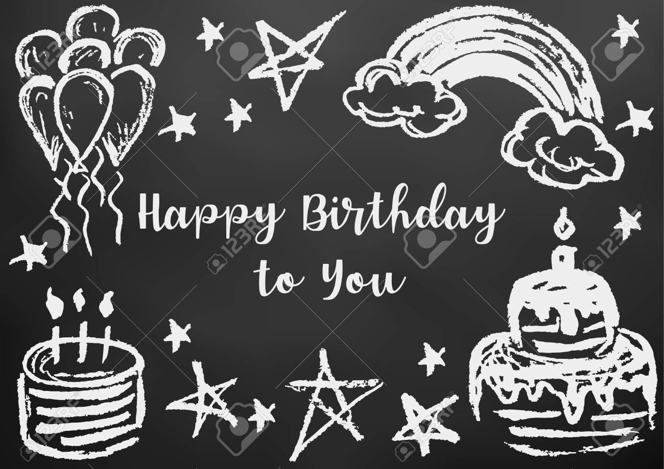 Happy birthday to you greeting card flyer banner drawing