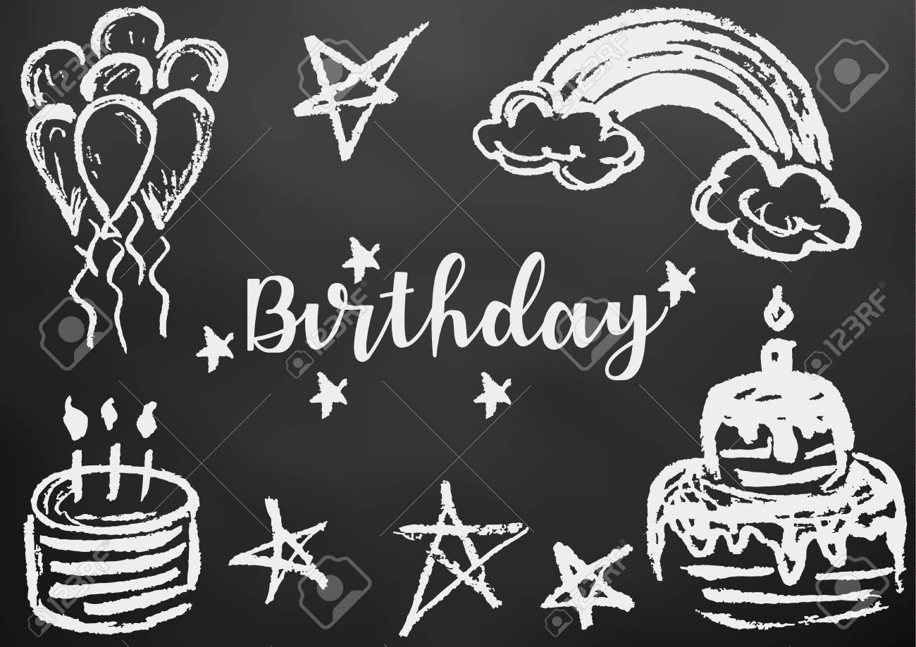 Happy Birthday Greeting Card Flyer Banner Drawing Chalk On A Black Board