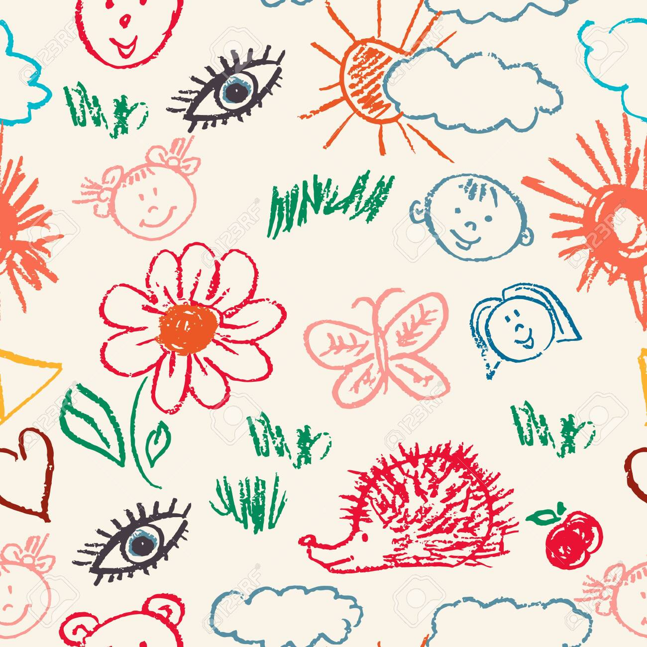 Seamless pattern  Draw pictures, doodle  Beautiful and bright